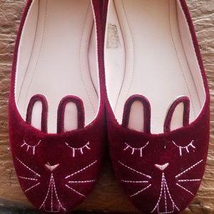 TUK burgandy Bunny flats size 9